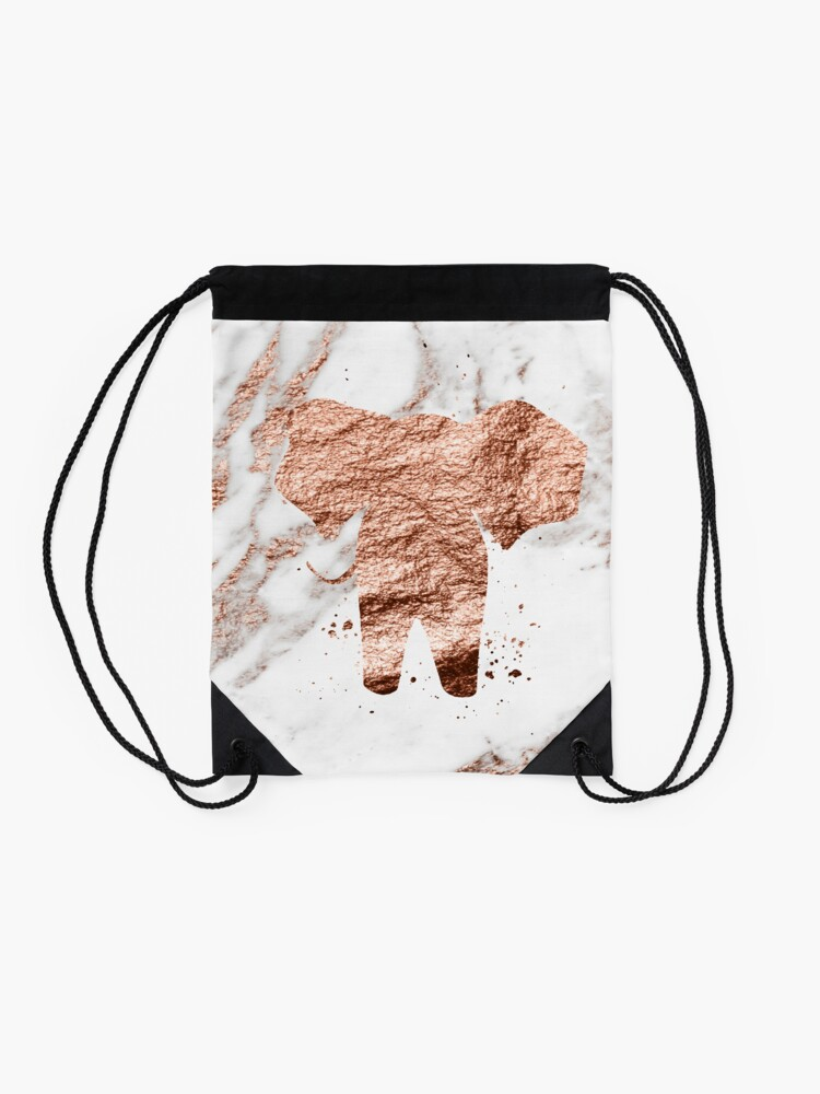 Alternative Ansicht von Elefant - Roségold Marmor Turnbeutel