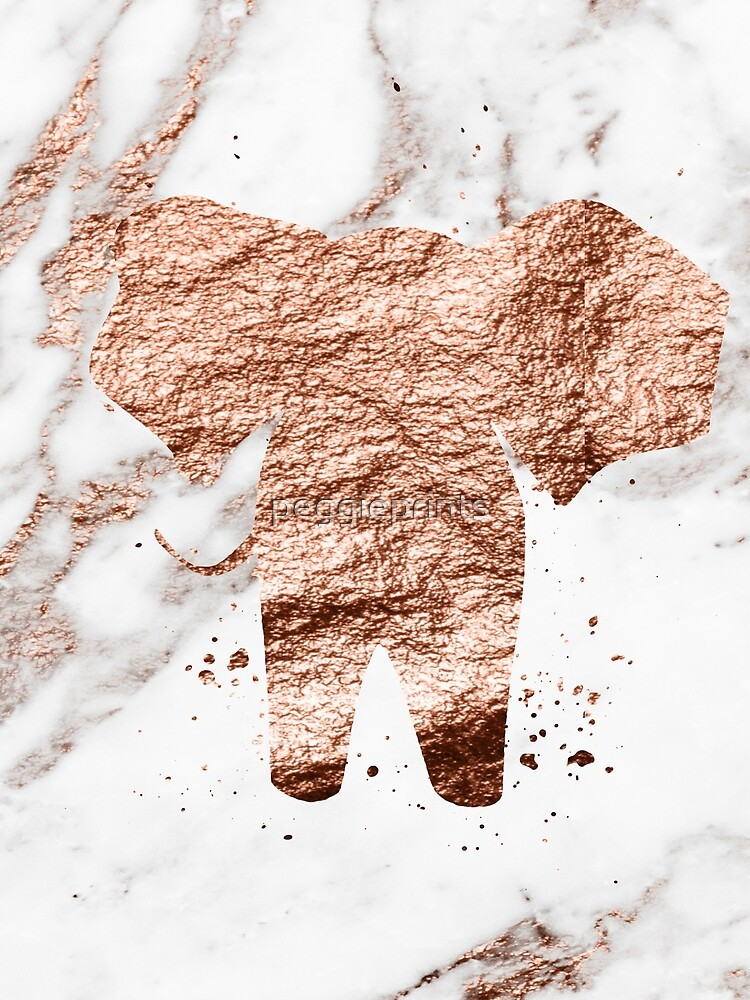 Elefant - Roségold Marmor von peggieprints