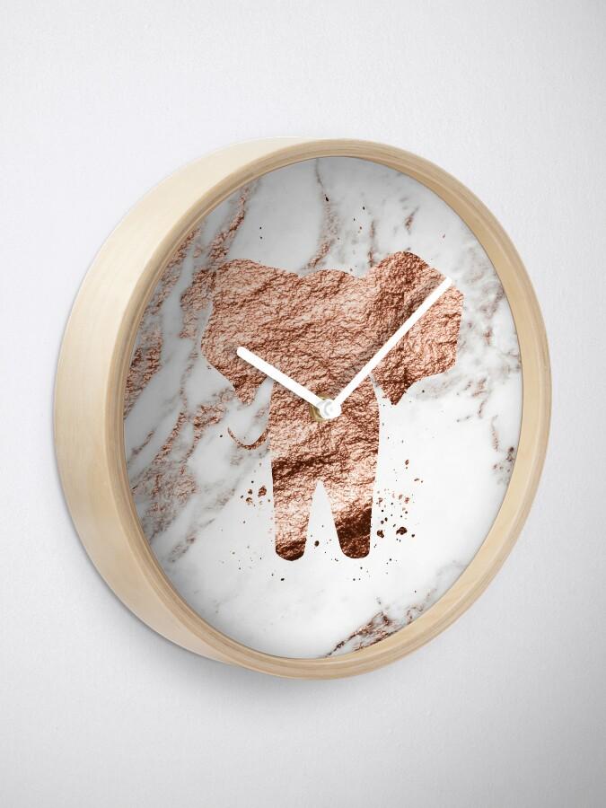 Alternative Ansicht von Elefant - Roségold Marmor Uhr