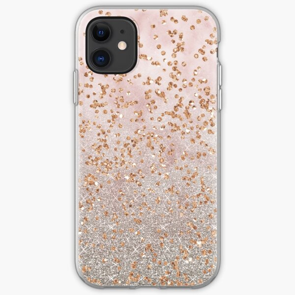 Mixed rose gold glitter gradients iPhone Soft Case