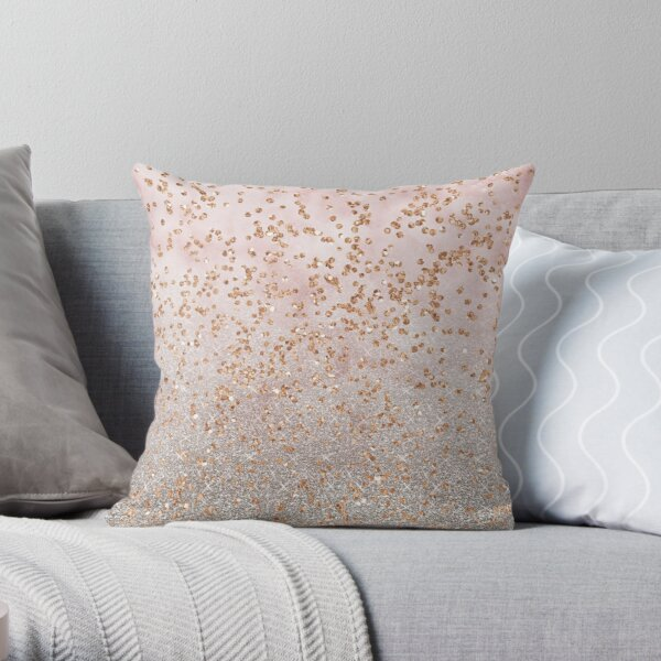 Mixed rose gold glitter gradients Throw Pillow