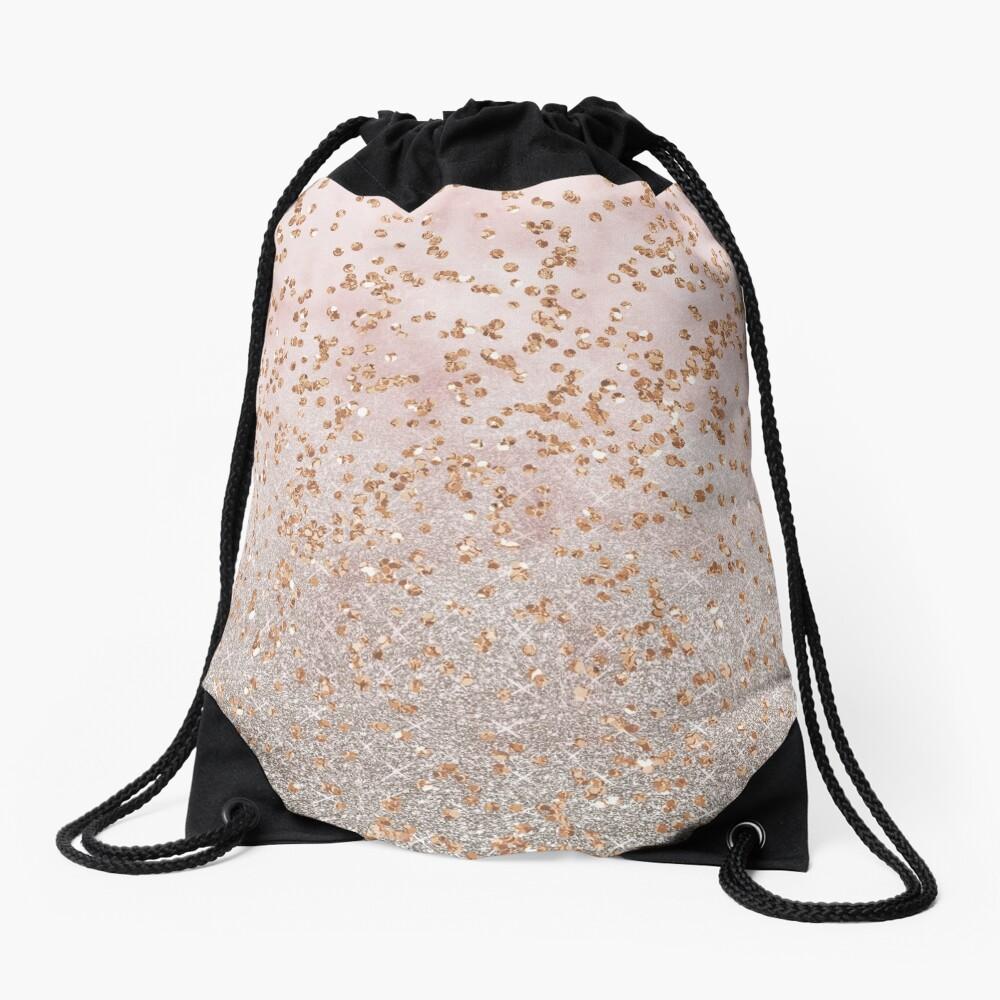 Mixed rose gold glitter gradients Drawstring Bag