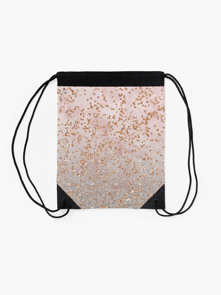Alternate view of Mixed rose gold glitter gradients Drawstring Bag