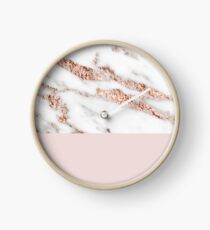 Blushing rose gold marble II Clock