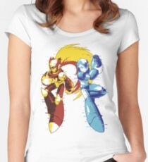 Mega Man And Zero 01 [Glitch Remix Ver] Women's Fitted Scoop T-Shirt
