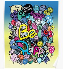 Be Happy  Doodle Monsters Poster