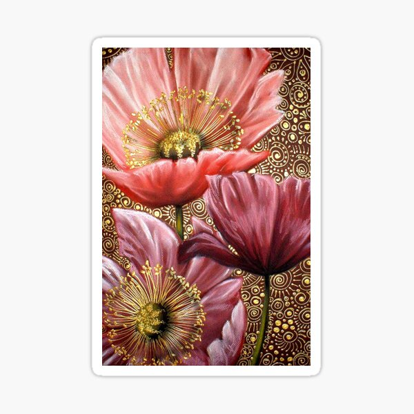 Three Pink Poppies Sticker