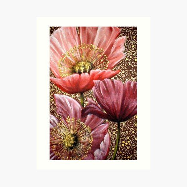 Three Pink Poppies Art Print