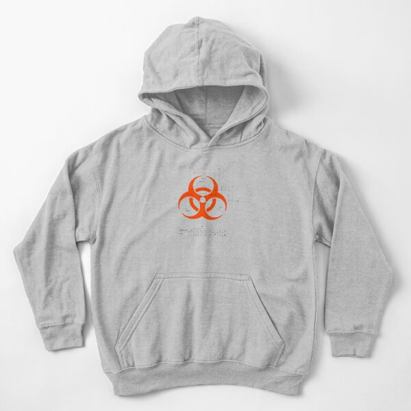Biohazard warning sign with dimensions Kids Pullover Hoodie