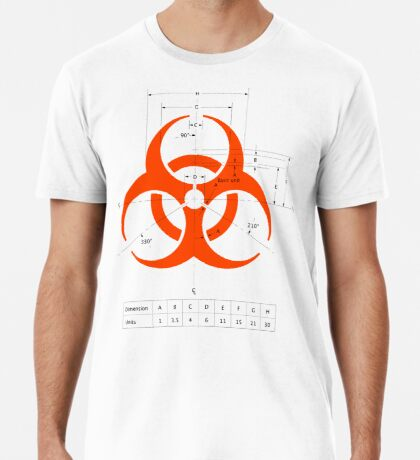 Biohazard warning sign with dimensions Premium T-Shirt