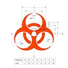 Biohazard warning sign with dimensions by Rupert Russell