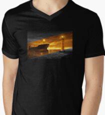 Lighthouse with tanker at night Men's V-Neck T-Shirt