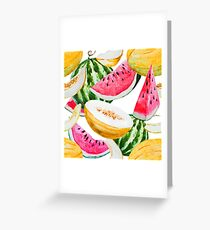 Watercolor watermelon melon pattern Greeting Card