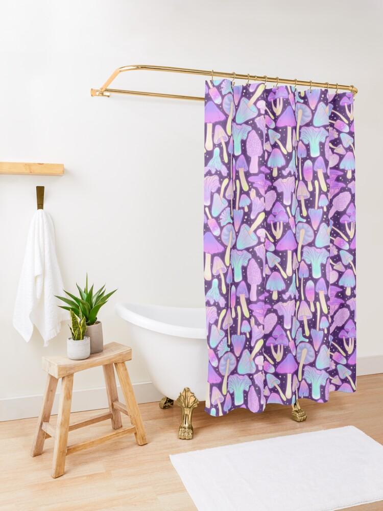 Alternate view of  Spooky Mushroom Hunt Shower Curtain