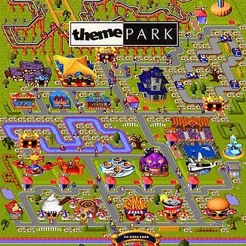 Theme Park Bullfrog Fan Print by hangman3d
