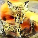 Redreaming Deep Dreamed Fox Twin Souls  by WENDY BANDURSKI-MILLER