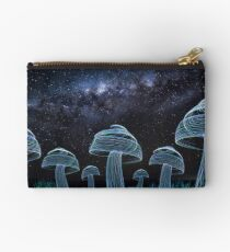 A field of mushrooms under the Milky Way Studio Pouch