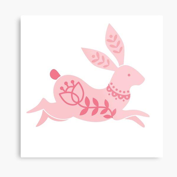 Pink as Folk Running Rabbit Metal Print