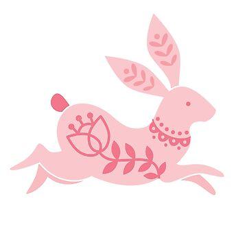 Pink as Folk Running Rabbit by KayWhittaker