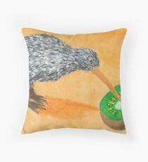 Kiwi Eating Kiwi Throw Pillow