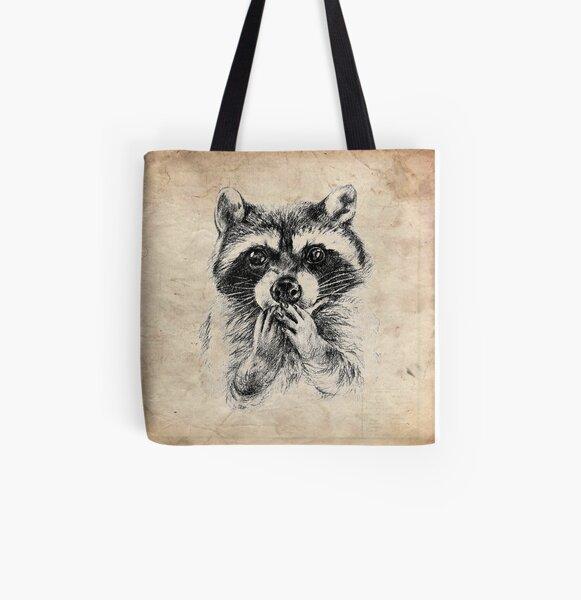 Surprised raccoon All Over Print Tote Bag