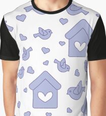 Seamless pattern with birds, birdhouses and hearts Graphic T-Shirt