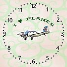 I Love Planes - Dakota DC3 Clock by ipgphotography