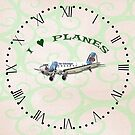 I Love Planes - Dakota DC3 Clock with Roman Numerals by ipgphotography