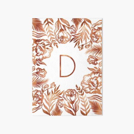 Initial D - Rose Gold Glitter Flowers Art Board Print