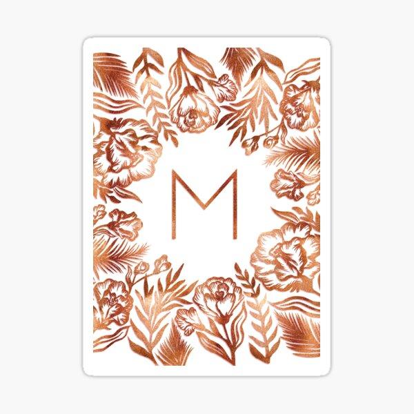 Initial M - Rose Gold Glitter Flowers Sticker