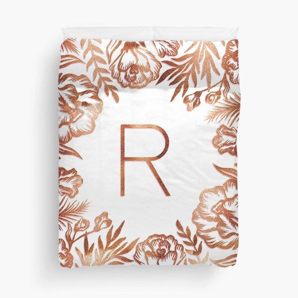 Initial R - Rose Gold Glitter Flowers Duvet Cover