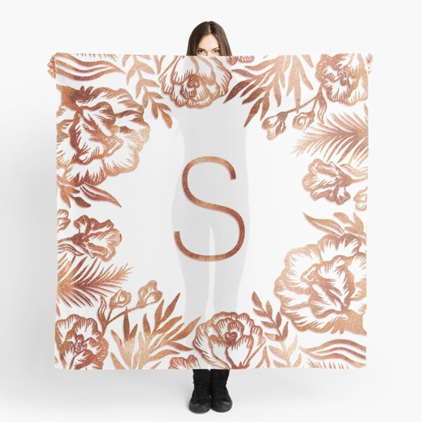 Initial S - Rose Gold Glitter Flowers Scarf