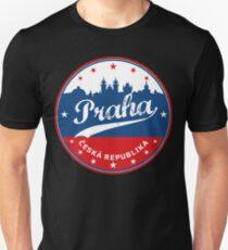 Praha poster, Prague poster, circle, black bg Unisex T-Shirt