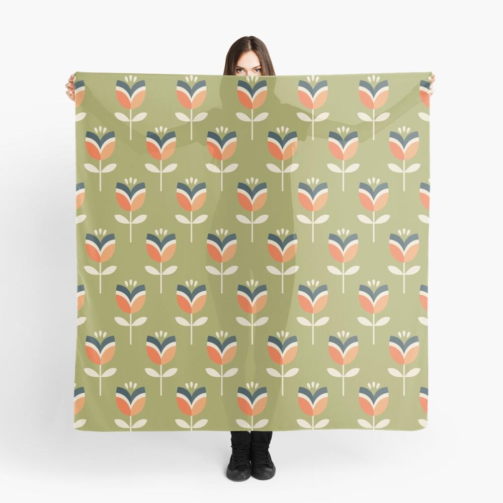 Retro Tulpe - Orange und Olivgrün Tuch