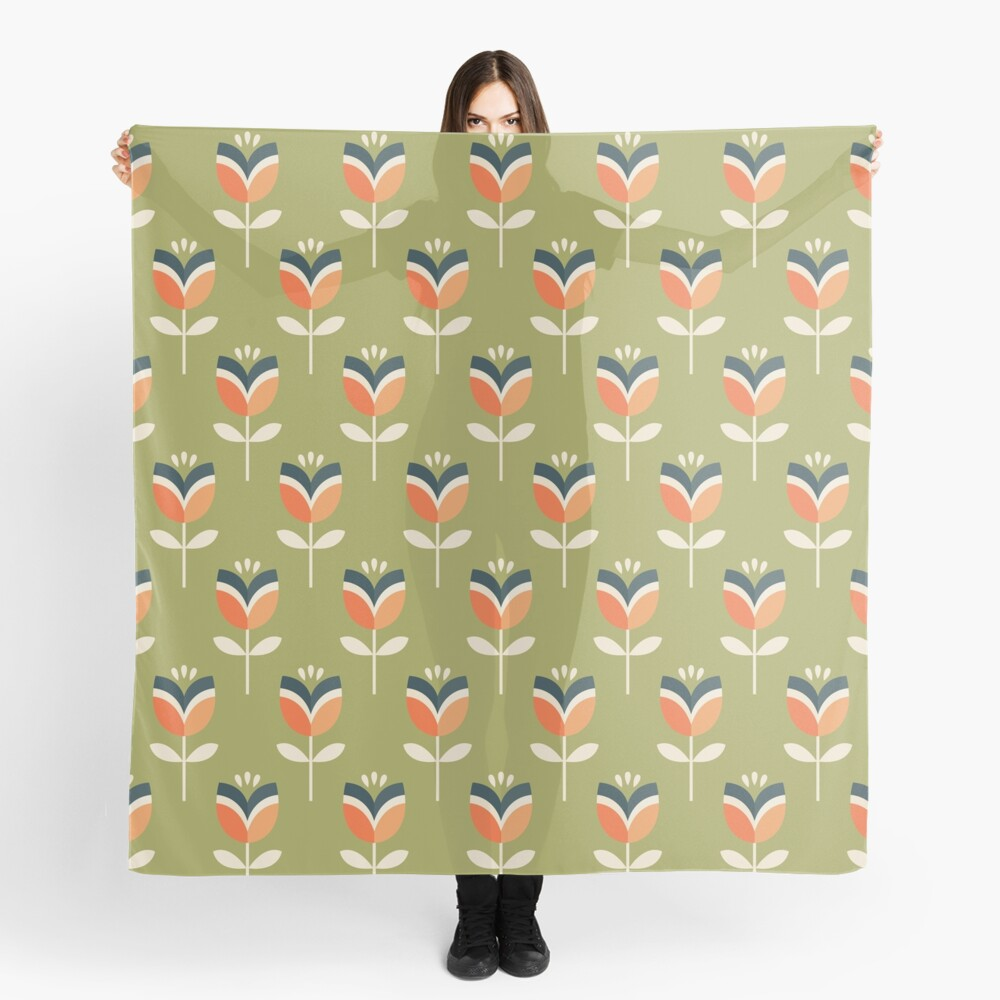Retro Tulip - Orange and Olive Green Scarf