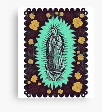 Virgin Mary In Green Canvas Print
