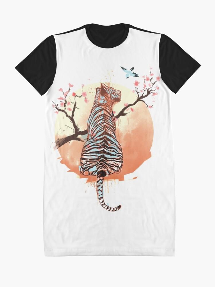 Alternate view of Tiger at the sakura's tree Graphic T-Shirt Dress
