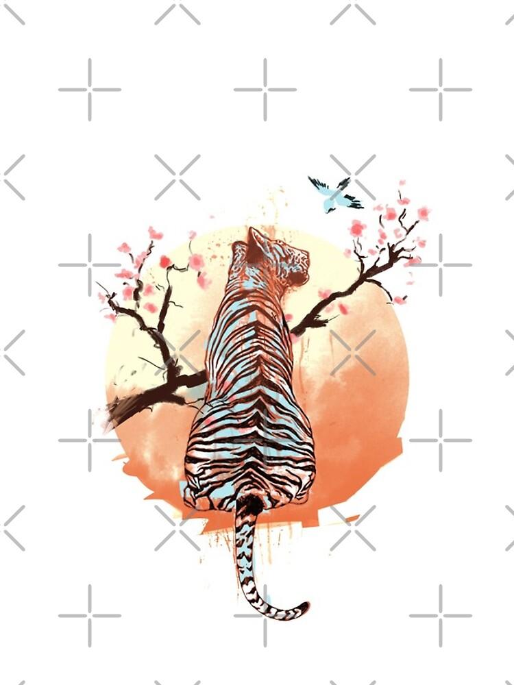 Tigre en el árbol de sakura de THEILO
