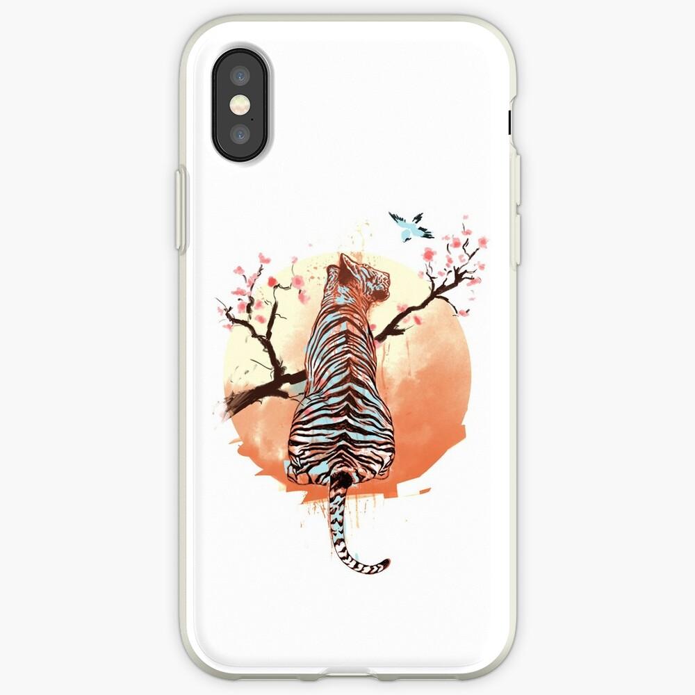 Tigre en el árbol de sakura Funda y vinilo para iPhone