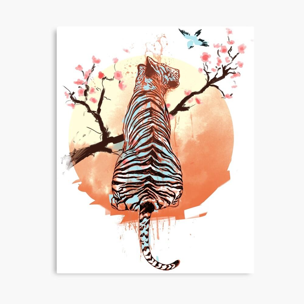 Tigre en el árbol de sakura Lienzo