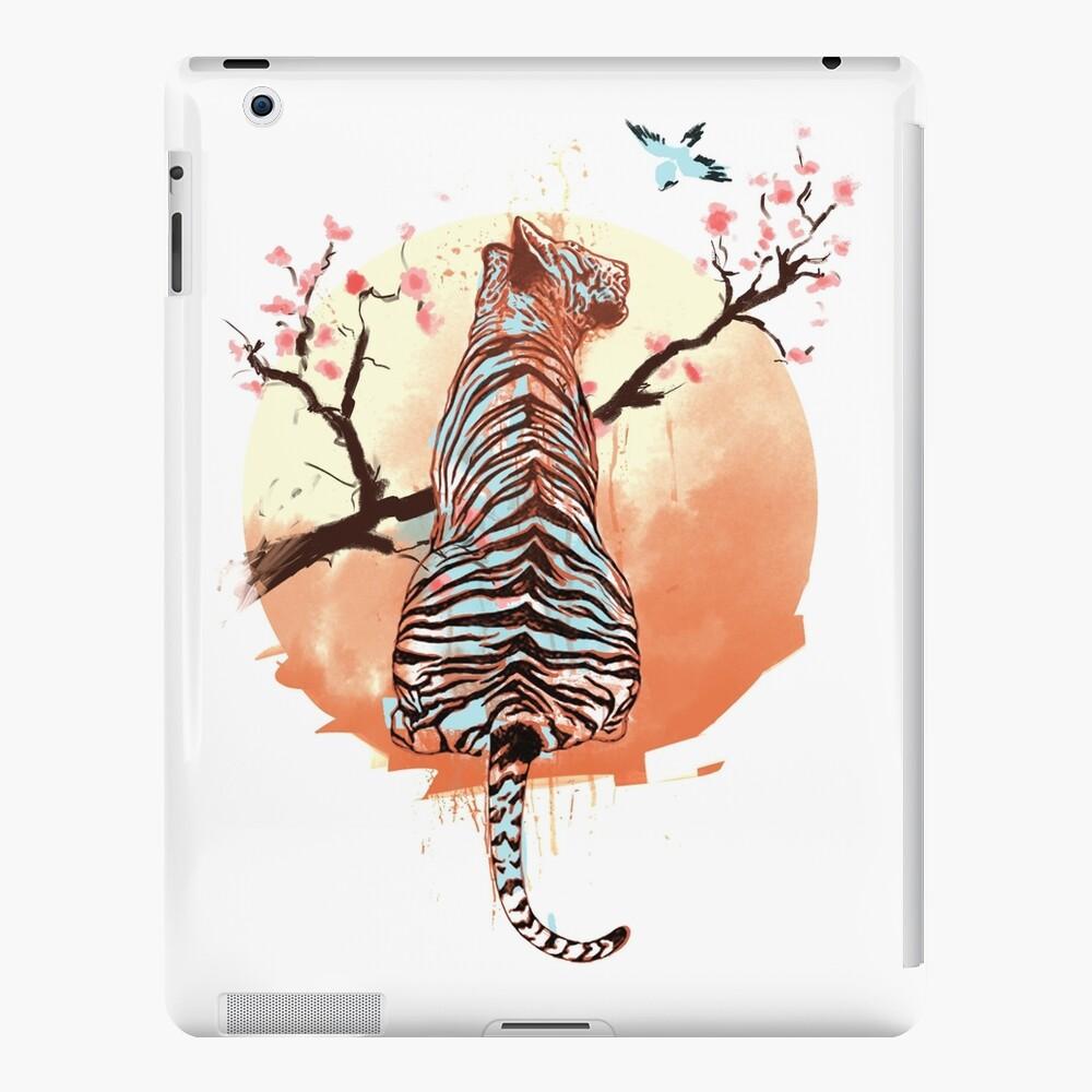 Tigre en el árbol de sakura Funda y vinilo para iPad