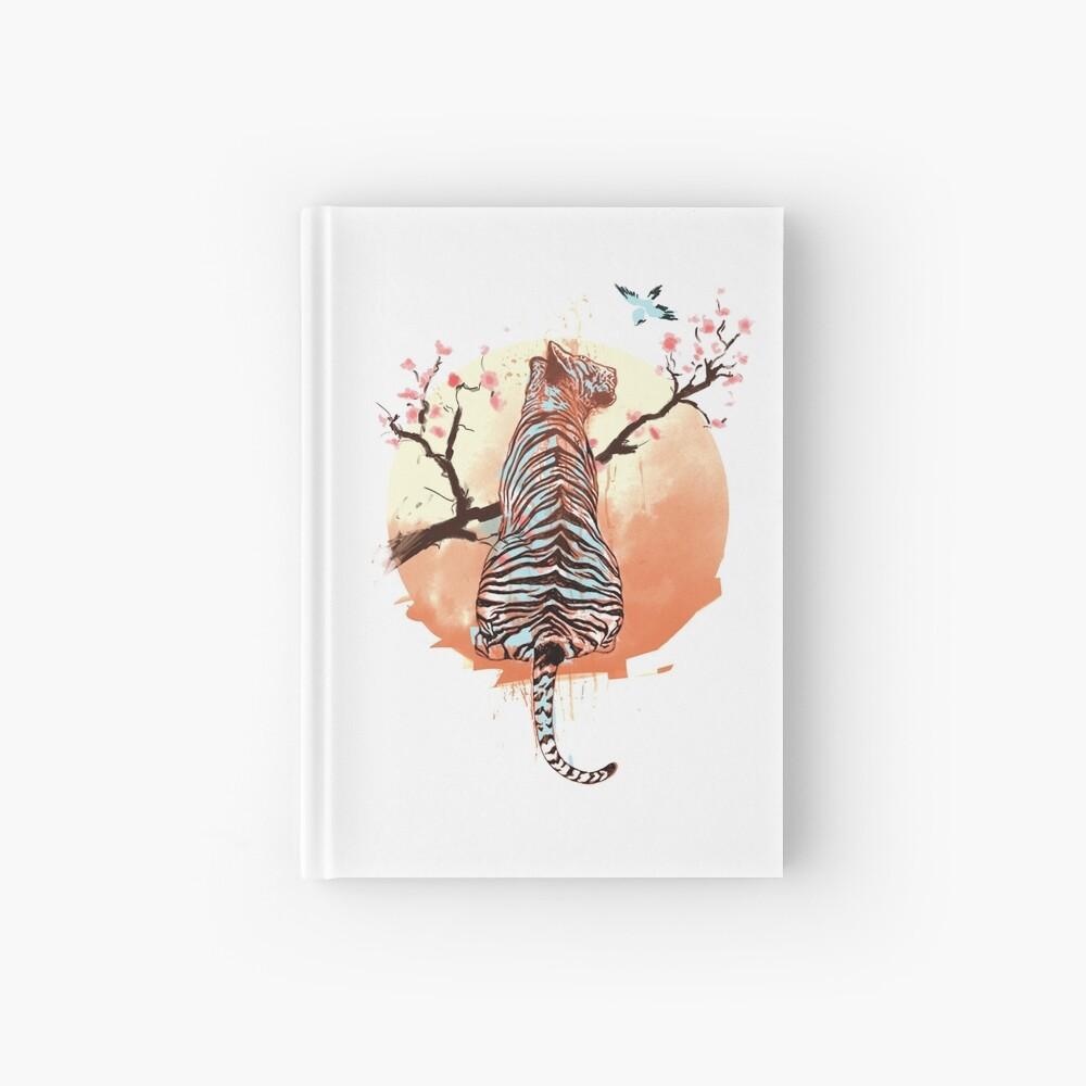 Tigre en el árbol de sakura Cuaderno de tapa dura
