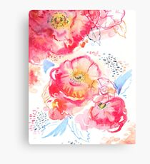 Watercolor abstract pink peony flowers Canvas Print