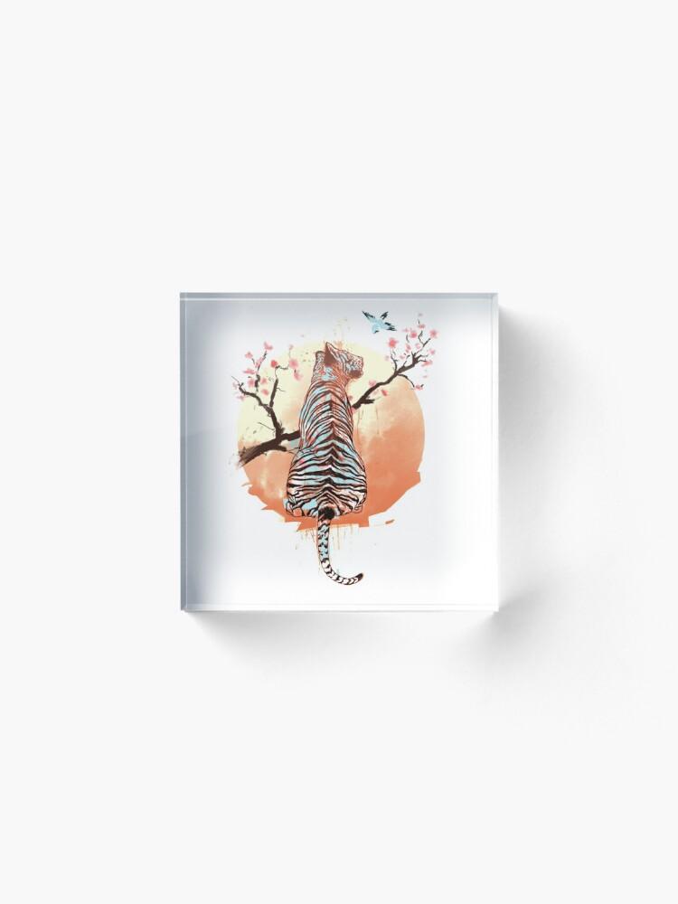 Vista alternativa de Bloque acrílico Tigre en el árbol de sakura