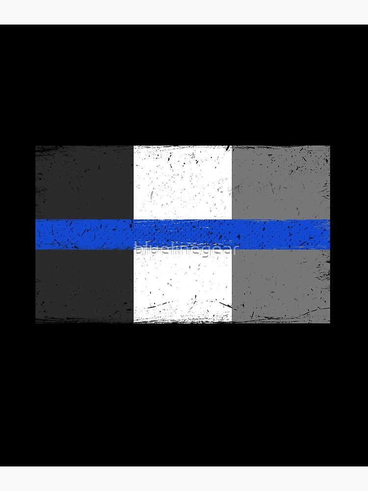 Thin Blue Line French Police France Flag by