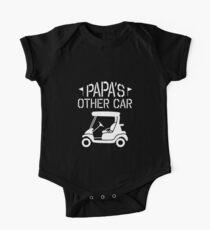 Papa's Other Car - Golf Cart - Funny Grandpa Golfing Shirt  One Piece - Short Sleeve