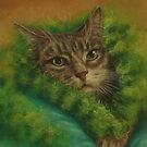 Peeved Cat in a Green Boa by Pam Humbargar