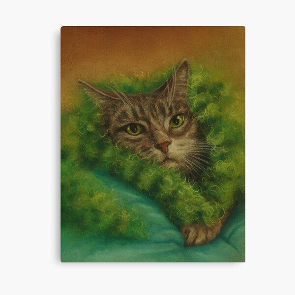 Peeved Cat in a Green Boa Canvas Print