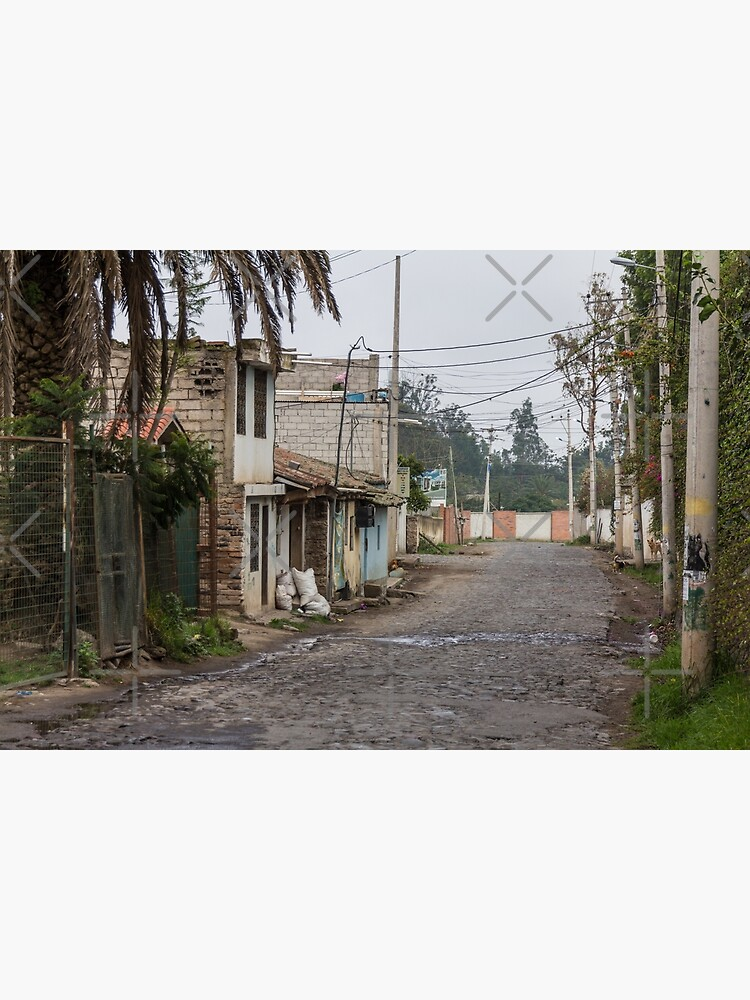 Rural street with buildings and utility poles in Puembo, Ecuador by kpander