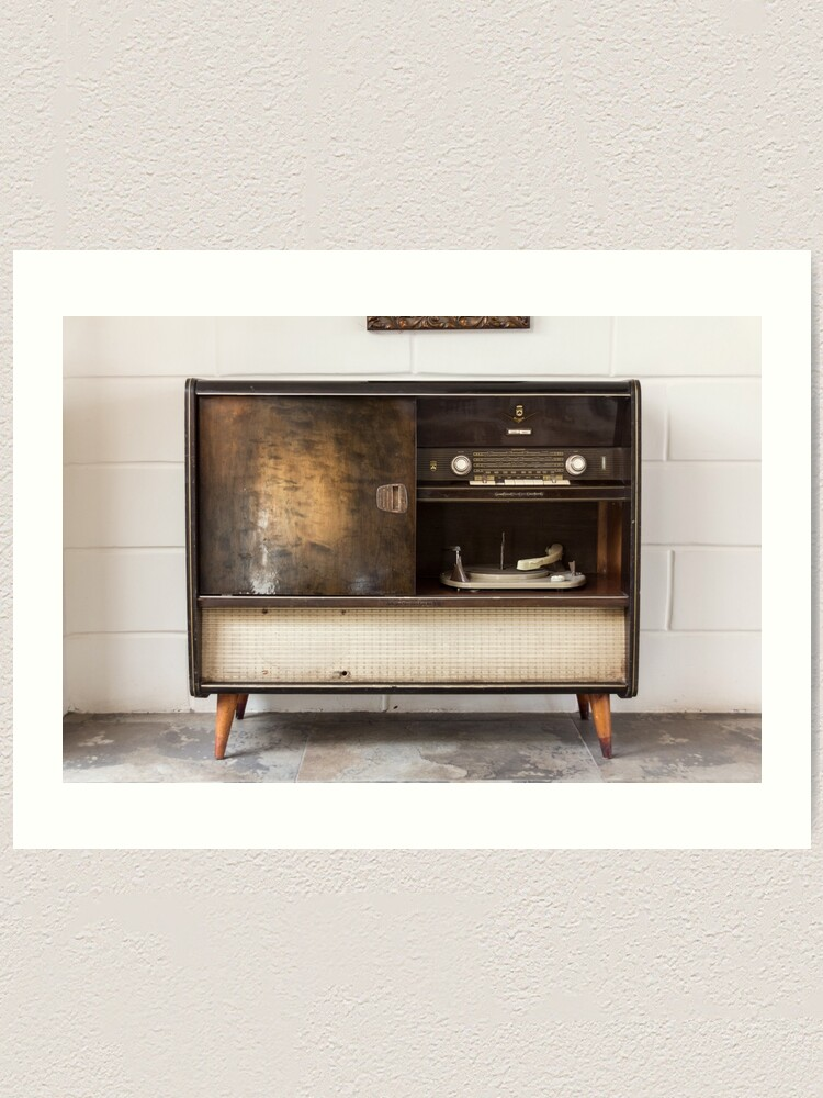 Alternate view of Antique record player turntable and stereo unit Art Print
